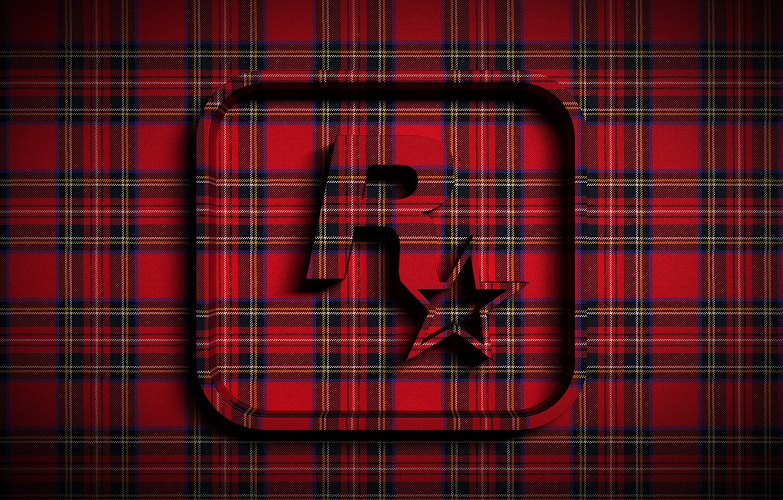 Фото обои звезда, ткань, эмблема, объем, рок, Rockstar, шотландка