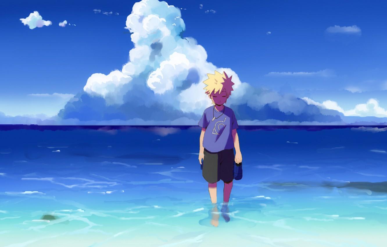 Фото обои море, небо, арт, Аниме, Наруто, Naruto, Uzumaki Naruto, Узумаки Наруто