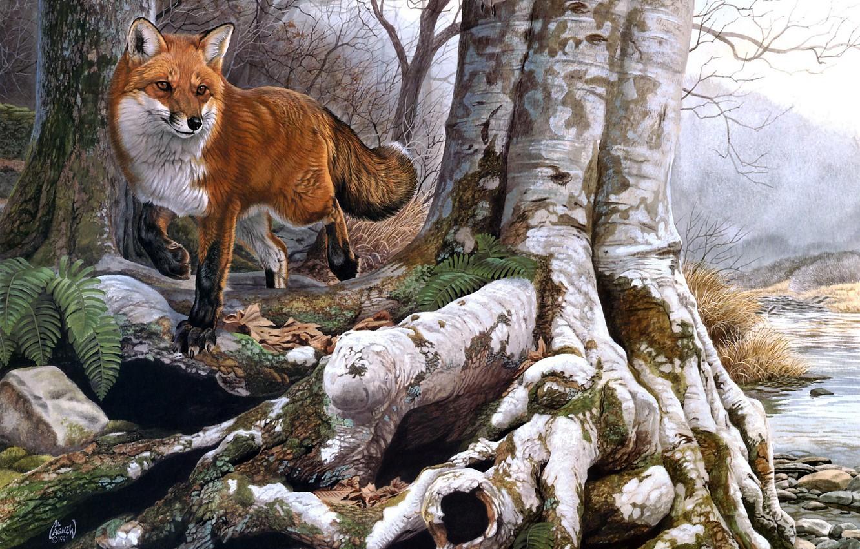 Фото обои осень, лес, река, ручей, лиса, рыжая, живопись, Al Agnew, Running Wild