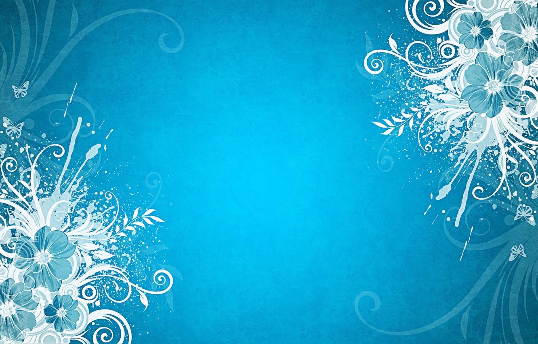 Фото обои бабочки, цветы, голубой фон