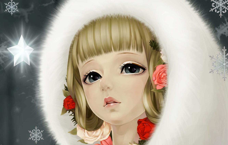 Фото обои снежинки, сияние, звезда, розы, Девушка, мех, art, dong xiao