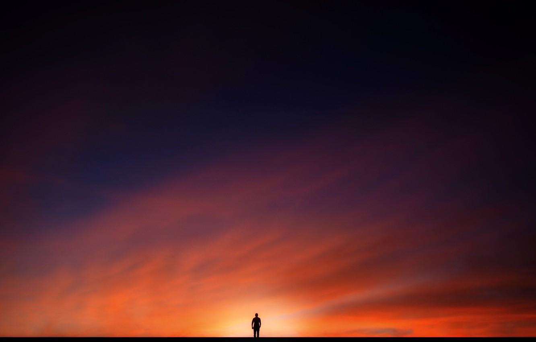 Фото обои небо, закат, человек