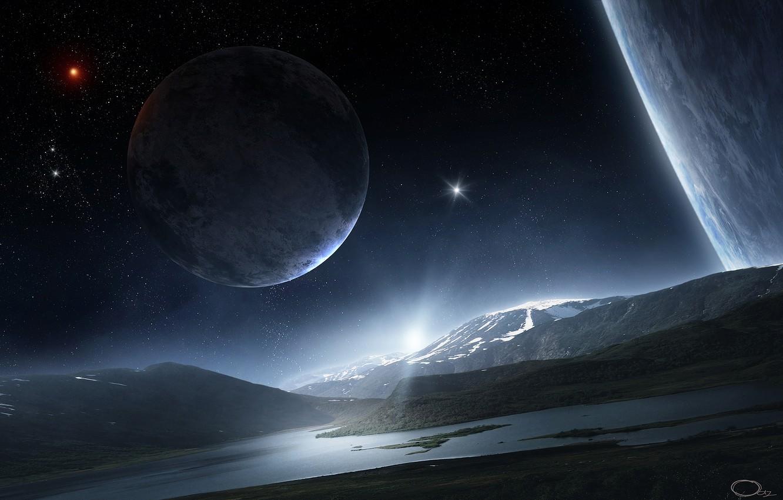 Фото обои вода, космос, звезды, поверхность, горы, река, холмы, ландшафт, планета, спутник, арт, QAuZ