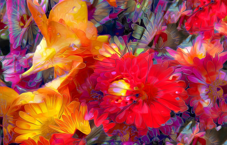 Фото обои капли, линии, цветы, рендеринг, краски, лепестки