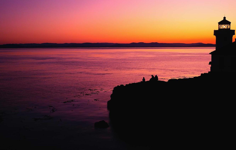 Фото обои Закат, Море, Маяк