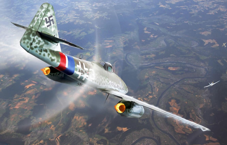 Фото обои рисунок, mustang, арт, Messerschmitt, воздушный бой, Me.262, p-51, Schwalbe, немецкий турбореактивный истребитель