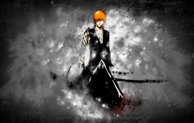 Фото обои меч, блич, ichigo, ичиго, bankai