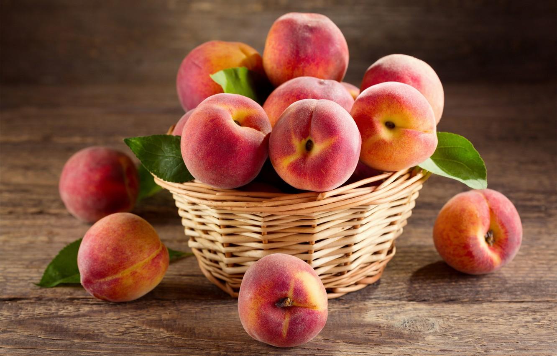 Фото обои листья, корзина, еда, персики