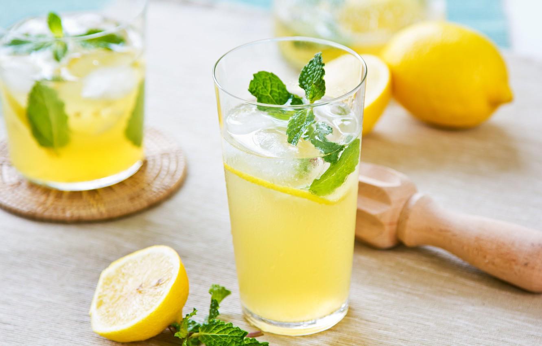Фото обои стакан, лимон, напиток, мята, лимонад
