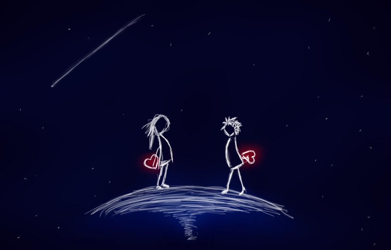 Фото обои космос, звезды, любовь, настроения, сердца, пара, сердечки, mood