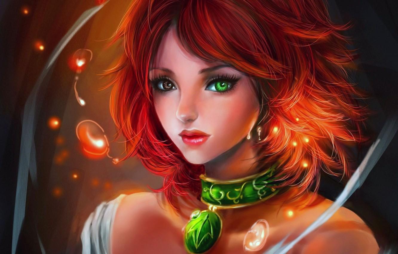 Фото обои девушка, пузырьки, арт, кулон, рыжая, искорки, разные глаза, rikamello