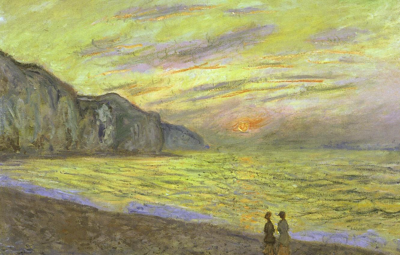 Обои Закат на Сене, Клод Моне, парус, лодка, Пейзаж, картина. Разное foto 11