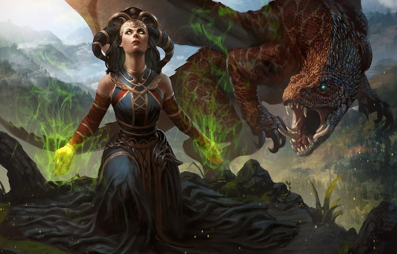 Фото обои глаза, девушка, магия, дракон, арт, колдунья, Magic The Gathering