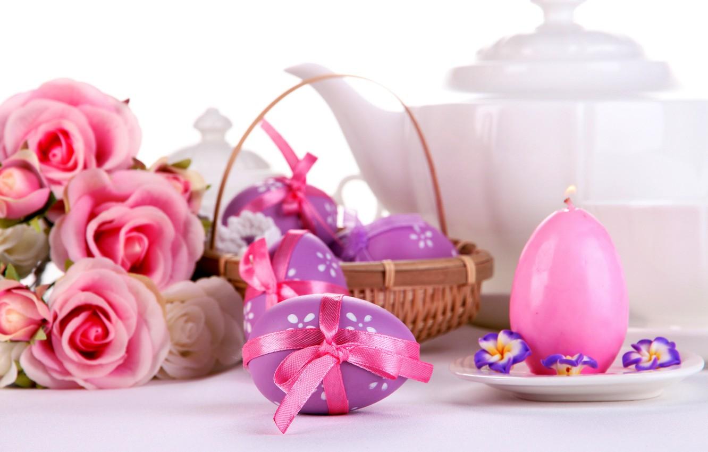 Фото обои розы, яйца, пасха, pink, flowers, eggs, easter, roses, candle, сервировка
