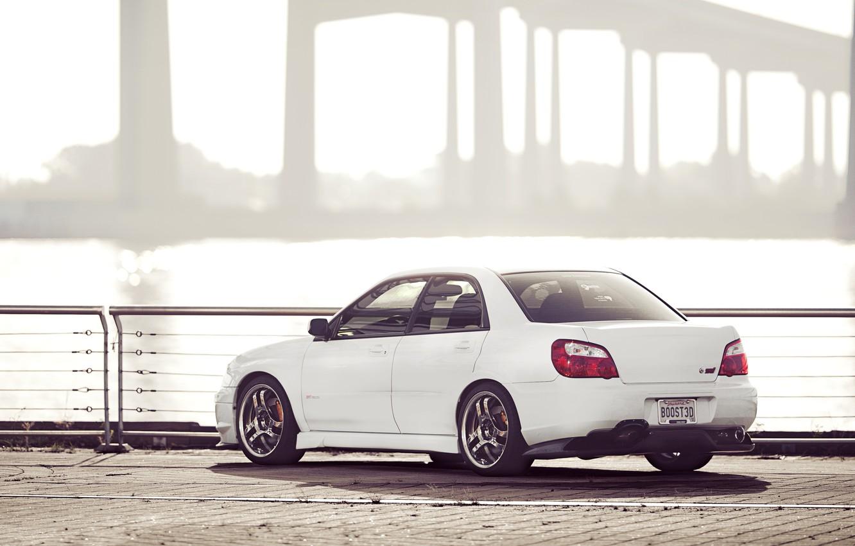 Фото обои Subaru, Impreza, белая, white, STI, субару, импреза