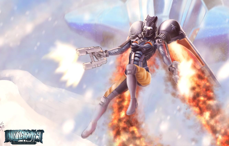 Фото обои девушка, оружие, костюм, Starcraft, выстрелы, ранец, Reaper