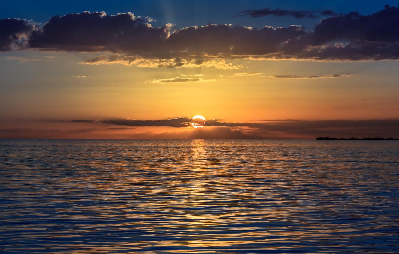 Фото обои море, небо, солнце, облака, закат, оранжевый, Вечер