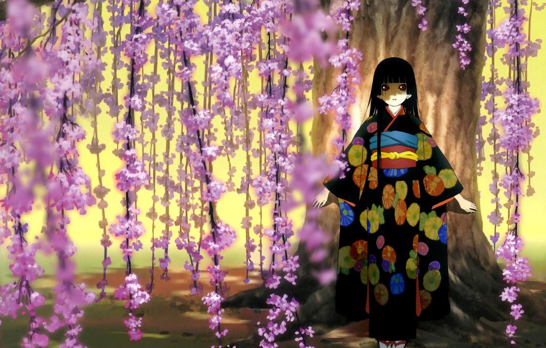 Фото обои сакура, девочка, кимоно