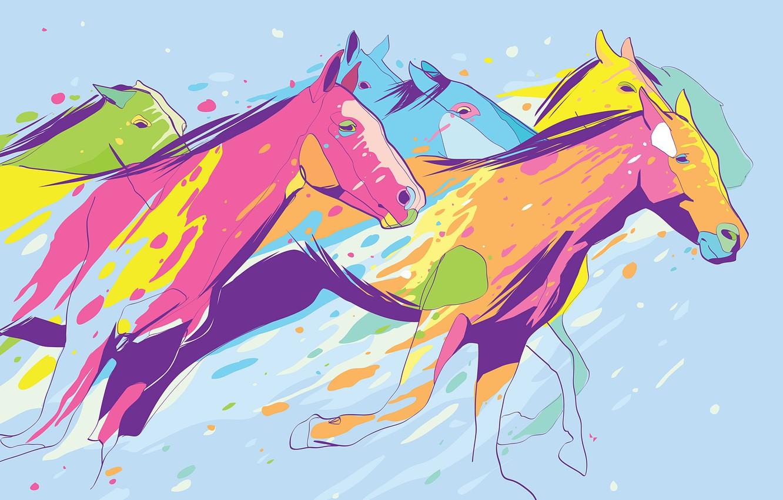 Фото обои цвета, фон, кони, лошади, скачут