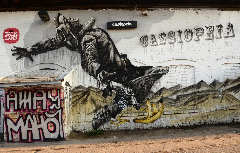 Фото обои стена, краски, граффити, ковбой, Graffiti