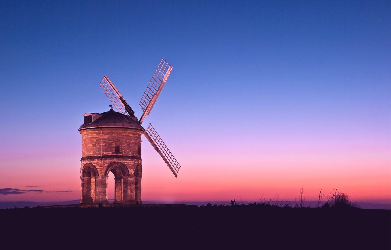 Фото обои небо, закат, оранжевый, розовый, вечер, Мельница, синее