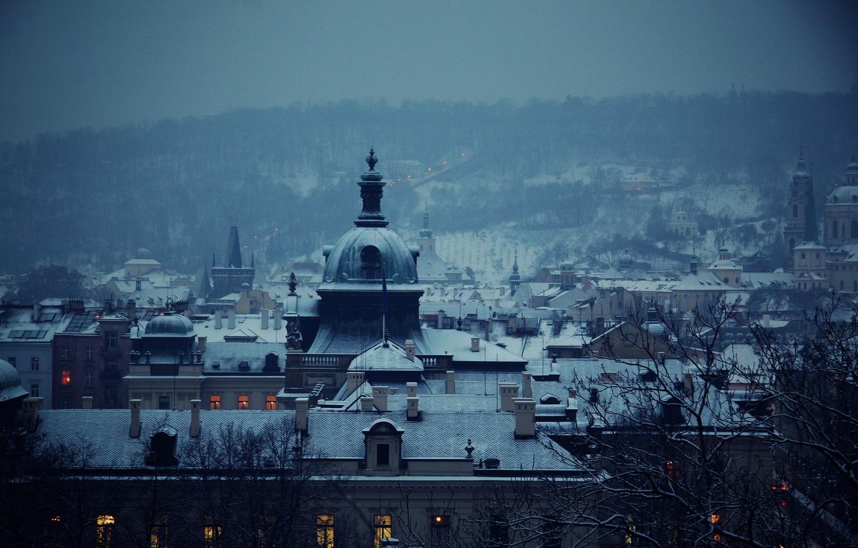 Фото обои зима, синий, город