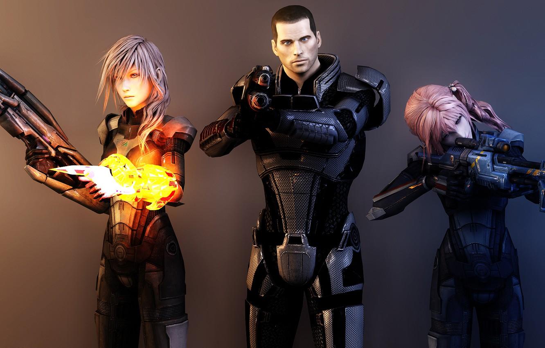 Фото обои оружие, девушки, коллаж, арт, капитан, броня, mass effect, shepard, lightning, final fantasy, рендер, шепард