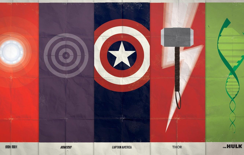 Фото обои символы, Iron Man, Captain America, Thor, Marvel Comics, The Avengers, Hawkeye, The Hulk