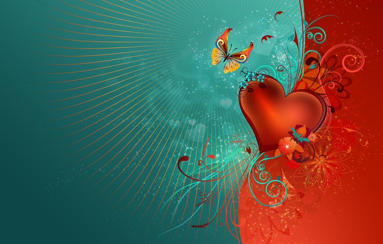 Фото обои обои, узор, бабочка, сердце