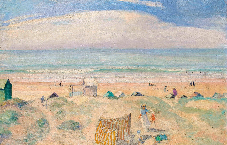 Фото обои море, пляж, пейзаж, картина, Анри Лебаск, The Beach of Saint-Jean-de-Monts