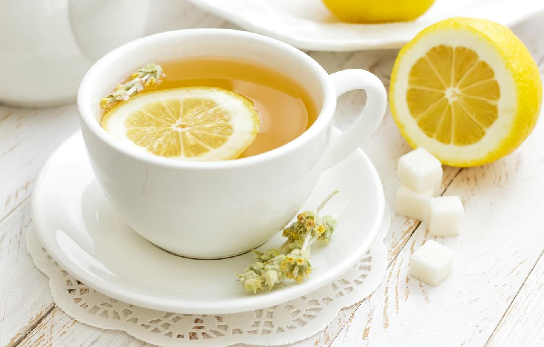 Фото обои лимон, чай, кружка, сахар, блюдце