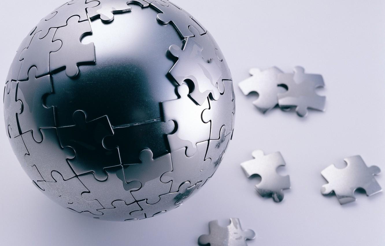 Фото обои Пазл, Сфера, Steel Puzzle Sphere, Стальной Шар