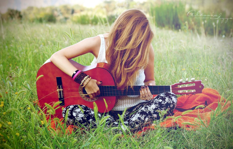 Фото обои девушка, музыка, гитара