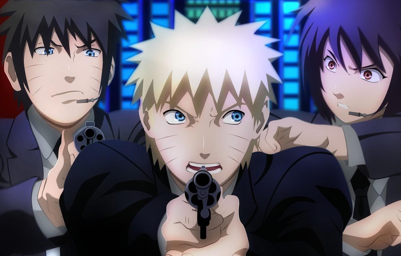 Фото обои girl, gun, pistol, game, Naruto, weapon, anime, boy, crossover, window, brunette, blond, ninja, asian, agent, …
