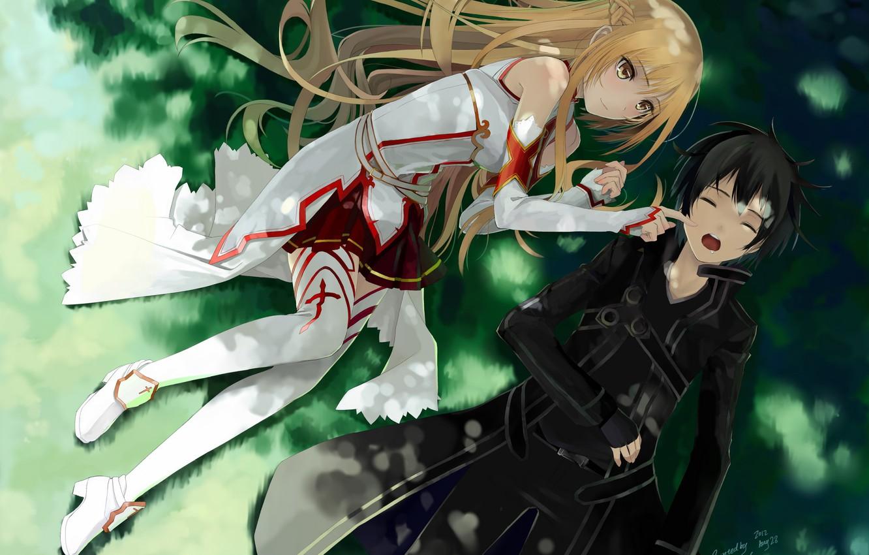 Фото обои трава, девушка, отдых, парень, sword art online, yuuki asuna