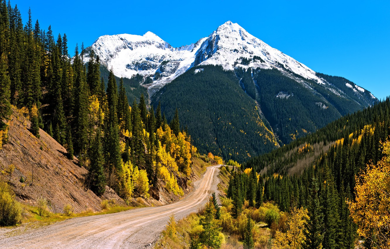 Фото обои осень, лес, небо, снег, горы, склон
