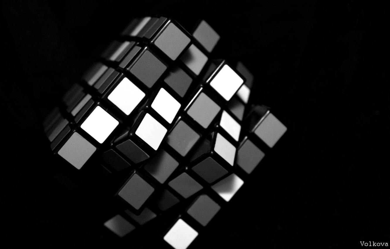 Фото обои белый, черный, кубик рубика
