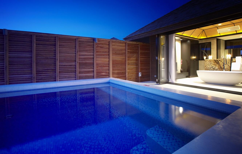 Обои бассейн, дизайн, ночь, особняк. Города foto 9