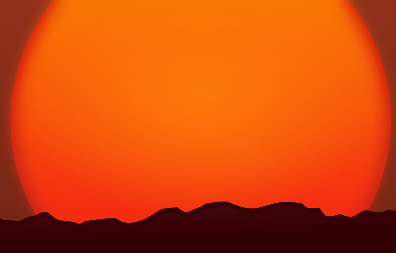 Фото обои солнце, закат, горы, горизонт