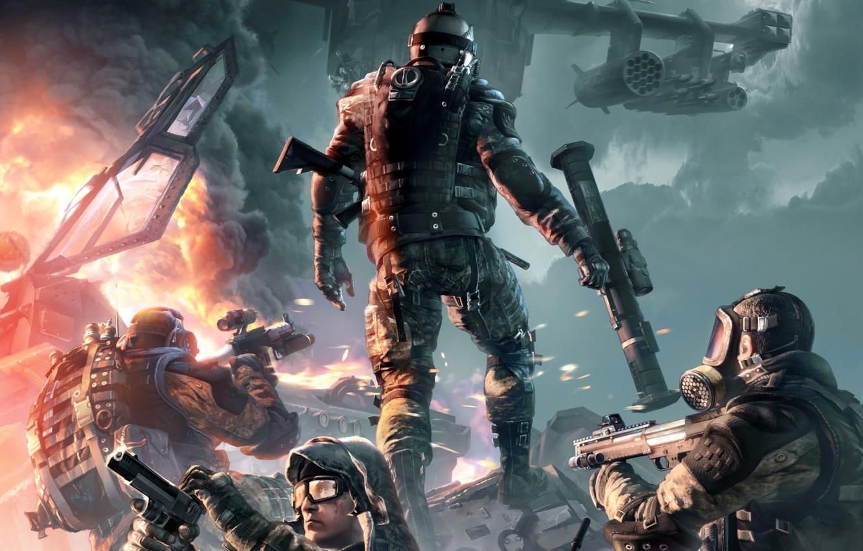 Фото обои оружие, огонь, дым, бой, автомат, солдаты, вертолёт, перестрелка, бронежилет, Crytek, Warface