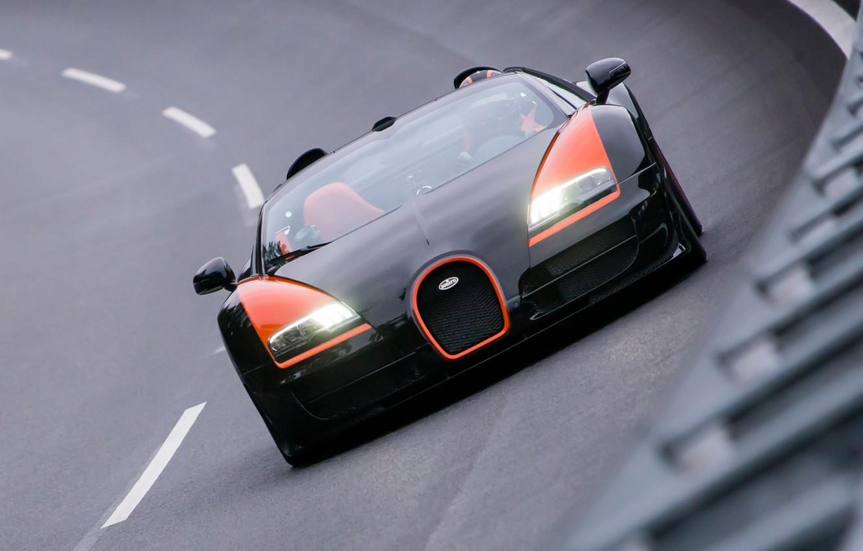 Фото обои фон, поворот, Бугатти, Bugatti, Вейрон, Veyron, суперкар, передок, гиперкар, Grand Sport, Vitesse, 16.4, World Record …