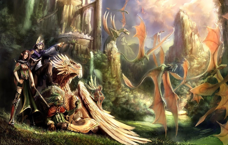 Фото обои Дракон, Замок, Фэнтези
