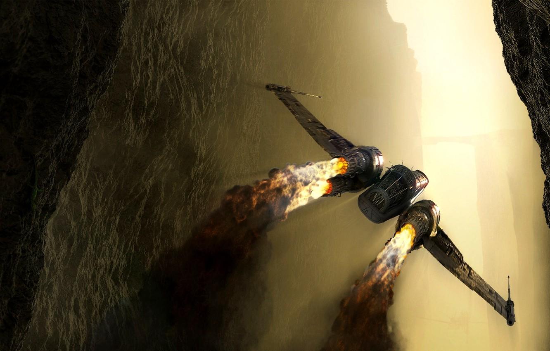 Фото обои полет, огонь, истребитель, метеорит, сопла, космический корабль, Spaceship fighter