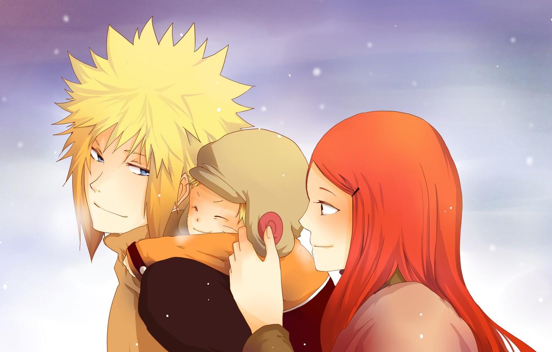 Фото обои зима, небо, глаза, взгляд, снег, семья, Аниме, Наруто, Naruto, Anime, мама, сын, папа, Uzumaki Kushina, …