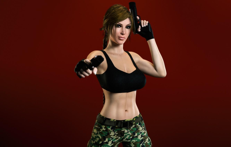 Фото обои грудь, взгляд, девушка, пистолеты, lara croft, tomb raider