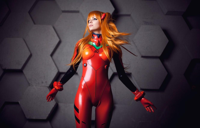 Фото обои девушка, костюм, Neon Genesis Evangelion, cosplay, простой фон, Asuka Langley