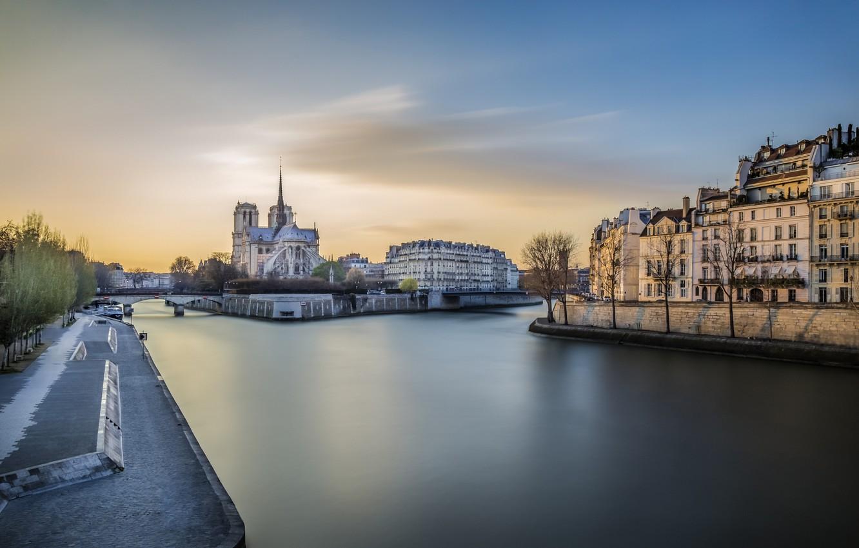 Фото обои закат, река, Париж, Сена, Нотр-Дам де Пари, Собор Парижской богоматери