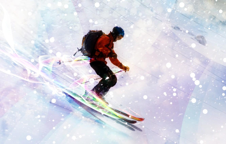 Обои спуск, Лыжи, лыжник. Спорт foto 7