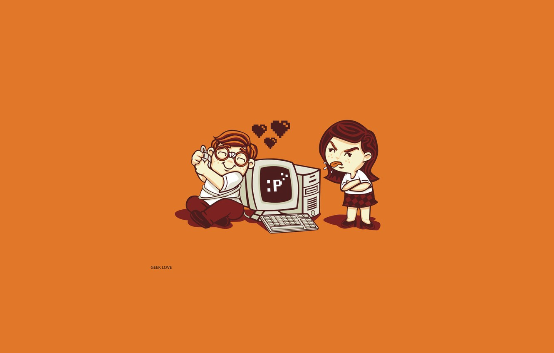 Фото обои девушка, ситуация, комп, минимализм, парень