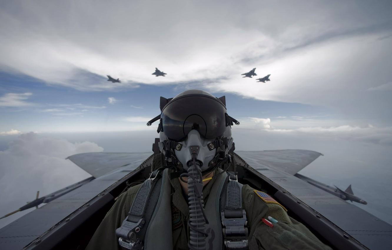 Фото обои небо, самолет, пилот
